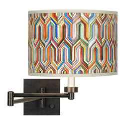 "Giclee Glow - Contemporary Synthesis Giclee Shade Plug-In Swing Arm Wall Light - Give your decor a contemporary lift with this giclee shade swing arm wall light. The handsome Synthesis pattern is printed onto high-quality canvas using the giclee technique. The base features a warm bronze finish and a 24"" arm extension. This plug-in wall light is easy to install; just plug into any standard wall outlet. A dimmer switch allows you to adjust the light output. The shade is custom made-to-order. U.S. Patent # 7347593. Dark bronze finish. Custom printed giclee shade. Takes one 75 watt bulb (not included). Shade is 12"" wide 8 1/2"" high. Arm extends 24"". Wall plate is 5 1/2"" square.  Bronze finish.  Plug-in style.  Dimmer switch.  Maximum 75 watt or equivalent bulb (not included).  24"" maximum arm extension.  Square wallplate is 5 1/2"" across and 1"" deep.  Shade is 12"" wide and 8 1/2"" high."