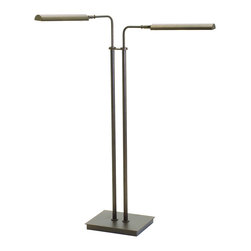 """House of Troy - Generation Adjustable Double Floor LED Lamp Chestnut Bronze Finish - Dimensions: 37""""- 46.5""""D, 11.25""""W, 17""""D. Shade Size: 11.25"""""""