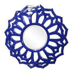 Howard Elliott Casey Royal Blue Mirror - Our Casey Mirror is a round piece with a Contemporary styled sunflower frame. It is finished in our custom glossy royal blue lacquer.