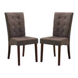 """Wholesale Interiors - Baxton Studio Anne Parsons Chair (Set of 2) - Though decidedly designed for an informal dining room furniture arrangement, Our Anne Dining Chair is made with a beautiful neutral taupe brown twill fabric in a panel-stitched, button-free tufting design. Finishing off your new contemporary dining chair is a foam cushion. Features: -Material frame and legs: Solid rubber wood.-Polyurethane foam cushioning.-Spot clean.-Color: Brown.-Finish: Dark Brown.-Baxton Studio collection.-Finish: Beige.-Frame Material: Rubber Wood.-Non-Toxic: Yes.-Upholstered Seat: Yes -Seat Upholstery Material: Twill Fabric.-Seat Upholstery Color: Beige.-Removable Seat Cushions: No.-Removable Seat Cushion Cover: No.-Tufted Seat Upholstery: No.-Welt on Seat Cushions: No..-Upholstered Back: Yes -Back Upholstery Material: Twill Fabric.-Back Upholstery Color: Beige.-Removable Back Cushions: No.-Removable Back Cushion Cover: No.-Tufted Back Upholstery: No..-Nailhead Trim: No.-Swivel: No.-Foldable: No.-Stackable: No.-Number of Legs: 4.-Leg Material: Rubber Wood.-Casters: No.-Protective Floor Glides: Yes.-Adjustable Height: No.-Outdoor Use: No.-Swatch Available: No.-Commercial Use: No.-Recycled Content: No.-Product Care: Spot clean only.Dimensions: -Overall Height - Top to Bottom: 37"""".-Overall Width - Side to Side: 17.5"""".-Overall Depth - Front to Back: 24"""".-Arms: No.Assembly: -Assembly Required: Yes.-Tools Needed: Screwdriver.-Additional Parts Required: No."""