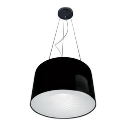 """Artemide - Artemide Polinnia suspension light - The Polinnia suspension light from Artemide has been designed by Carlo Colombo. Composed of a painted metal structure with an injection-molded thermoplastic diffuser. Available in either a white or black finish. This fixture requries 2 x 57W GX24q-5 Flu (not included). cUL LISTED.      Product Details:  The Polinnia suspension light from Artemide has been designed by Carlo Colombo. Composed of a painted metal structure with an injection-molded thermoplastic diffuser. Available in either a white or black finish. This fixture requries 2 x 57W GX24q-5 Flu (not included). cUL LISTED.  Details:     Manufacturer: Artemide   Designer: Carlo Colombo   Made in: Italy   Dimensions: Height: 78 3/4"""" (200 cm) X Diameter: 23 5/8"""" (60 cm)   Light bulb: 2 x 57W GX24q-5 FLU (not included)   Material: Aluminum, Thermoplastic"""