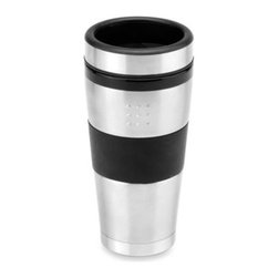 Berghoff - BergHOFF Orion 16-Ounce Travel Mug - This contemporary stainless steel travel mug with black accents features a double-walled polypropylene design for temperature regulation and a non-slip rubber underside for stability. Fits almost all car cup holders.