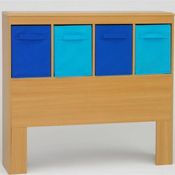 4D Concepts - Boy's Headboard in Beech with 4 Storage Cubbi - Ultimate storage headboard lets your little one hold all his prized possessions. Beech-finished headboard includes four canvas totes for storing books, games, toys and more. Storage containers are pale blue and navy. Twin headboard is modern with simple, straight lines. Beech finish. Ultimate storage headboard. Large twin headboard is any kids dream with storage. Headboard surface is vacuum formed with gently rolled edges. Durable PVC laminate. Navy and light blue tall folding canvas drawers rest gently on the shelf. Canvas handles on both sides of the drawer for removing, or pulling completely out. Constructed of Composite Board and highly durable PVC laminate. Clean with a dry non abrasive cloth. Some assembly required. 43 in. W x 9.5 in. D x 40 in. HThe ultimate storage headboard is great for a boys room. This large twin headboard is any kids dream with storage for games, hand held gaming machines right at their fingertips. The headboard surface is vacuum formed with gently rolled edges. This durable pvc laminate makes this item a great choice for any child's room. The navy and light blue tall folding canvas drawers rest gently on the shelf and have canvas handles on both sides of the drawer for removing, or pulling completely out and taking with you to another room in the house.