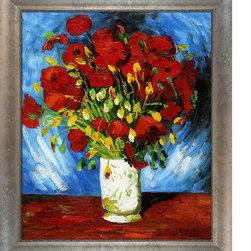 """overstockArt.com - Van Gogh - Poppies with Silver Scoop with Swirl Lip - Silver Frame Oil Painting - Hand painted oil reproduction of Vase with Red Poppies Originally painted in 1886. Today it has been carefully recreated detail-by-detail, color-by-color to near perfection. The series of sunflower paintings reminded him of the happy days spent in a yellow house with another artist. The painting series was intended to decorate Gauguin's bedroom, but only two where worthy to hold Van Gogh's signature. Van Gogh's Sunflower painting is part of a series of still life oil paintings. Among the paintings are three similar paintings with fifteen sunflowers in a vase, twelve sunflowers in a vase, and Sunflowers with blue background. Van Gogh began painting the works in late summer 1888 and continued into the following year. The paintings show sunflowers in all stages of life, from fully blossomed to withering. The paintings are considered innovative for their exclusive use of the yellow spectrum. Vincent Van Gogh's restless spirit and depressive mental state fired his artistic work with great joy and, sadly, equally great despair. Known as a prolific Post-Impressionist, he produced many paintings that were heavily biographical. This work of art has the same emotions and beauty as the original by Van Gogh. Why settle for a print when you can add sophistication to your rooms with a beautiful fine gallery reproduction oil painting? Frame Description: Athenian Gold Frame - Antique Gold Finish - Eco Friendly Framed painting size (not including frame): Classic 20"""" x 24"""". Framed Oil reproduction of an original painting by Vincent Van Gogh"""