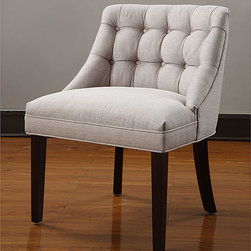None - Belmont Tufted Back Chair - Featuring a handsome design, this tufted Belmont chair is perfect for any home office or den. Its cream-colored upholstery has a retro-inspired tufted detail that looks effortlessly sophisticated, and its espresso-colored legs add a modern touch.