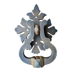 """Teton Iron - Roman Acanthus Door Knocker, Rusty Metal - The Roman Acanthus ring pull/ door knocker is a artistic design with Roman Acanthus leaf details, the bold stirrup shaped ring makes this item one of our customers favorites. This ring pull/ door knocker is compliments Tuscan, French country, cottage, Neo classical, Romanesque, Renaissance, German, Rocco, Victorian, Queen Anne, and even can blend with Mediterranean styles. The dimensions are 5 1/4"""" tall x 4 1/4"""" wide stirrup ring x 5 1/2"""" x 6 1/2"""" back plate 7 3/4"""" overall height 1 1/2"""" overall standoff, mounting screws included."""