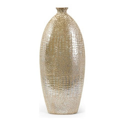 IMAX CORPORATION - Tiago Petite Vase - A wonderful accent for any end table, bookcase, or even on the floor in an unused corner of your home, the Petite Tiago Vase features a lovely, rounded design with a vintage, antique appearance that will accentuate the look of any style of home decor. For a coordinated look, purchase all five distinct Tiago pieces and place them together on a bookshelf or console. Whether for your home office, living room or any other space, you'll love the way this home accent updates the look of your home decor. Find home furnishings, decor, and accessories from Posh Urban Furnishings. Beautiful, stylish furniture and decor that will brighten your home instantly. Shop modern, traditional, vintage, and world designs.