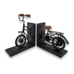 Zeckos - Vintage Bicycle Wood and Metal Bookends - This beautiful pair of metal and wood vintage bicycle bookends has a black enamel finish, artificially distressed to make them look old. Measuring 6 1/8 inches tall, 7 1/4 inches long, and 3 3/8 inches deep, they show excellent detailing, and add class and style to any bookshelf or table. This pair also makes a great present for the holidays or for housewarming gifts.