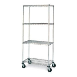 Olympic Shelf - Olympic 14 in. Deep 4-Shelf Mobile Cart - Chr - Choose Size: 30 in. W x 79 in. H14 inch depth. 600 lb. Capacity per unit. Commercial Grade / Industrial Strength. Olympic wire shelving made of carbon-steel will exceed all your storage needs. Open construction allows use of maximum storage space of cube. Each unit includes 4 posts, 4 shelves, 4 swivel stem rubber casters - 2 with brakes and 2 without - 4 donut bumpers and split-sleeves to attach shelves to posts. Chrome finishes are perfect for retail applications. Open wire design that minimizes dust accumulation and allows a free circulation of air. Greater visibility of stored items and greater light penetration. Can be loaded/unloaded from all sides. Wire shelving that can change as quickly as your needs change. Shelf wires run front to back allowing for items to slide on and off shelves smoothly. Shelves can be adjusted at 1 inch intervals along entire length of post. Chrome finish is designed for dry, low humidity environments. NSF Approved. Assembly Required