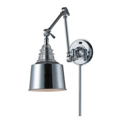 Elk Lighting - Insulator Plug-in Swing Arm Wall Sconce - Insulator Plug-in Swing Arm Wall Sconce is made from thick clear glass that is covered in Weathered Zinc, Polished Chrome, or Oiled Bronze. Arm pivots to direct light. One 100 watt, 120 volt A19 type Medium base incandescent bulb is required, but not included. 7 inch width x 18 inch height x 33 inch maximum depth.