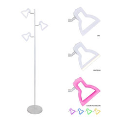 LUMISOURCE - Lumisource 2D LED Tree Floor Lamp, Multicolor - Light up your living space with the 2D LED Lamp! Fully equipped with a Color Phasing Mode and an all White Mode, this unique light provides an endless amount of possibilities for the LED illuminated lamp heads, while the fun shape adds a stylish appeal.