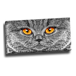 Grey Cat - Animal Art Canvas, 32W x 16H, 1 Panel - This animal artwork is a gallery wrapped canvas piece. This design is printed in high quality fade resistant ink on premium quality cotton canvas.