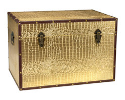 Oriental Furniture - Faux Leather Gold Crocodile Trunk - This fine trunk features a fun and fetching faux crocodile skin pattern in a metallic gold that practically glows! Printed on high quality textured vinyl, this chest is sure to be a unique addition to your home decor. The rivets match the lustrous print, and dark metal hinges, handles, and clasps--not to mention the brown faux leather edging--provide the perfect contrast. Featuring sturdy yet lightweight wood construction and a soft, fabric lined interior, this trunk is ideal for fashionably expanding your existing storage space. Designed for your convenience, it features an inconspicuous interior arm that holds the lid when you need it open, and a pair of external closures that keep it shut tight when you don't. Whether you are looking for extra storage or just to add a splash of color to a room, this trunk is sure to be a lively addition to your decor.