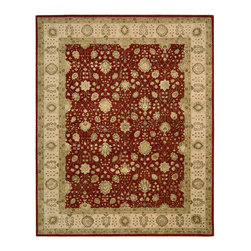"""Nourison - Nourison 3000 3102 2'6"""" x 4'2"""" Red Area Rug 19182 - This breathtaking floral and diamond design is beautifully bordered and presented in the traditional Persian style in regal shades red, gold, beige, taupe, copper, rose and olive. This resplendent rug is fabricated with lavish silk components and features fine hand embossing for a spectacular depth and dimension."""