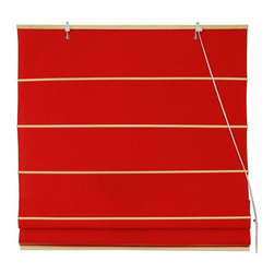 Oriental Furniture - Cotton Roman Shades - Red - (36 in. x 72 in.) - These Red colored Roman Shades combine the beauty of fabric with the ease and practicality of traditional blinds. They are made of 100% cotton.