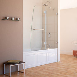 """Dreamline - AquaLux 48"""" Frameless Hinged Tub Door, Clear 5/16"""" Glass Door - The AquaLux tub door delivers European styling with a gracefully curved silhouette for a uniquely modern look. The perfect combination of impressive 5/16 in. thick tempered glass and a flowing frameless design delivers the look of custom glass at a superior value. Make a splash with the striking yet elegant profile of the AquaLux tub door."""
