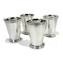Silver Mint Julep Cups - These silver mint julep cups can be used in two ways: as cups for your favorite mixed cocktail or as a delicate bar cart vase.