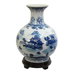 "Oriental Furniture - 12"" Landscape Blue & White Porcelain Vase - Distinct vase with a wide, round body and a long narrow neck. Features a blue and white landscape pattern with mountain and pagoda detail. Display alone, on a display stand or pedestal, or in pairs, on a hearth, buffet, or sideboard."