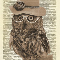 Altered Artichoke - Lady Owl With Pink Hat Dictionary Art Print, Sepia - This is our exclusive design of an owl wearing a pink hat, glasses, and a necklace. She's so cute!