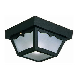 Design House - Outdoor Ceiling Mount-Light - Greets your guests at the door with a soft and inviting glow. Traditional elegance - Uses one 60 - watt bulb with 120 v. Has subtle curved details and a shadow box design. Matches brick, stone, wood paneling or aluminum siding. UL listed and UL approved for wet areas. Stay bright in harsh weather conditions. Strong corrosion resistant. Integrates traditional curves with the amenities of industry leading features. Made from steel and frosted glass. Black finish. 5.5 in. W x 5.5 in. D x 10.5 in. H (4.07 lbs.). Product Instructions. Warranty