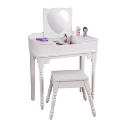 KidKraft - Sweetheart Vanity And Stool - White by Kidkraft - Our Sweetheart Vanity & Stool is sure to make any young girl feel like a movie star! Shatterproof heart-shaped mirror made of acrylic plastic. Stool fits under the vanity when not in use.