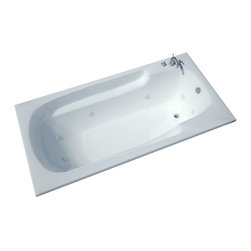 Spa World Corp - Atlantis Tubs 3660EWR Eros 36x60x23 Inch Rectangular Whirlpool Jetted Bath - The Eros collection features luxuriously designed corner bathtubs, with a traditional oval interior. Molded floor pattern prevents bathers from falling, while adding a piquant flavor to the bathtub's design. Lightweight construction makes installation quick and easy. Interior armrests provide luxury and comfort.  Whirlpool tubs feature jets and recirculating pumps to supply a hydro-therapeutic experience.  Whirlpool tubs are designed to provide a more vigorous and comforting massage with jets positioned to direct warm water to areas like the lower and upper back, shoulders and legs.  The Atlantis whirlpool hydro therapy configuration consists of symmetrically-allocated, 360 degrees; direction-adjustable water jets. System control is located on the entrance side panel, allowing bathers to turn water streams on and off.  Drop-In tubs have a finished rim designed to drop into a deck or custom surround.  They can be installed in a variety of ways like corners, peninsulas, islands, recesses or sunk into the floor.  A drop in bath is supported from below and has a self rimming edge that is designed to sit over a frame topped with a tile or other water resistant material.  The trim for the air or water jets is featured in white to color match the tub.