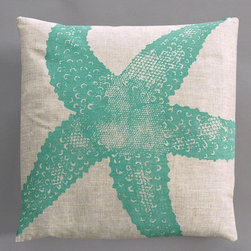 "Dermond Peterson - Starfish Turquoise Pillow on Natural Linen - Bright, playful, and fun! Dermond Peterson pillows are a chic and sophisticated way to add a piece of art to your living room or bedroom. Features: -Color: Turquoise and Natural Linen. -Each pillow is made to order. -Hand block printed on natural linen using water based ink. -Feather and down insert. -Pillowcase is machine washable. -Machine wash cold on gentle cycle. -Made in Milwaukee, WI. -Overall dimensions: 20"" H x 20"" W x 4"" D."