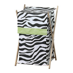 Sweet Jojo Designs - Green Zebra Hamper - The Green Zebra laundry hamper will help complete the look of your Sweet Jojo Designs room. This adorable laundry clothes hamper includes a wooden frame, mesh liner and fabric cover. The removable hamper body is secured to the wooden frame with corner loops and Velcro. The wooden stand folds flat for space-saving storage and the removable mesh liner is great for toting laundry. Dimensions: 26.5in. x 15.5in. x 16in.