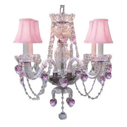 """The Gallery - Swarovski crystalrimmed chandelier - Crystal chandelier W/ Pink Crystalearts - This beautiful chandelier is trimmed with Sprectra crystal reliable crystal by Swarovski. Swarovski is the world's leading manufacturer of high quality crystal. Sprectra crystal Swarovski undergoes stringent quality control and offers the best crystal uniformity of sparkle, light reflection and Sprectral colors. *dressed with? PINK CrystalEARTS & PINK HEARTS* A Great European Tradition. Nothing is quite as elegant as the fine crystal chandeliers that gave sparkle to brilliant evenings at palaces and manor houses across Europe. This beautiful crystal chandelier is decorated with 100% crystal that captures and reflects the light of the candle bulbs, each resting in a scalloped bobache. The timeless elegance of this chandelier is sure to lend a special atmosphere in every home. Please note this item requires assembly. size: H 17"""" W 17 4 LIGHTS assembly required**SHADES INCLUDED** Lightbulbs not included . THIS ITEM COMES with A SWAG PLUG-IN KIT , 14 FEET OF HANGING CHAIN AND WIRE"""