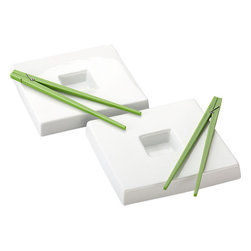 2-Piece Green Clothespin Chopsticks and Dunk Sushi Plate Set - These are the individual sushi plates of my dreams. They come complete with a dunking space so that you don't have to worry about extra pieces. I also appreciate the clothespin chopsticks for guests.