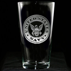 Crystal Imagery, Inc. - Navy Engraved Glassware, Pint Pub Glass Set - Engraved Navy pub glasses, pint beer glasses for navy officer retirement or promotion gifts. Deeply carved using our sand carving technique, each of our custom pint or pub glasses are meticulously custom made to order making them the perfect gift for those seeking unique gift ideas for beer lovers - men and women alike. At 16 oz, our pub glass will hold plenty of your favorite beverage. A custom engraved pint or pub glass will be the favorite gift at any special gift giving occasion. Personalized or monogrammed pint or pub glasses are a unique and special bridal shower gift, engagement gift, wedding gift or engagement gift. Also great gift idea for girlfriend or wife gifts, boyfriend or husband gifts, retirement gift or birthday for the classy man or woman who has everything. Dishwasher safe. Made in the USA. SOLD AS A SET OF 4.