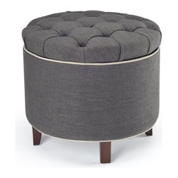 Safavieh Furniture - Amelia Tufted Storage Ottoman - Ottoman can be used as an extra seat, foot rest for relaxing or storage. Ottoman with contrast welt and buttons. Natural gray linen color. No assembly required. 21 in. W x 19 in. D x 21 in. H (8 lbs.)