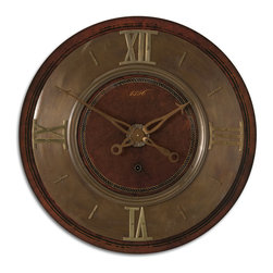 """Uttermost - 1896 30"""" Wall Clock - Lightly distressed mahogany finish with brass details. Requires 1-C battery."""