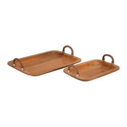 Coastal Beach Wood Trays w/ Jute Handle - Set of 2 - *Jute rope handle accents decorate this set of two Tabari mango wood trays. In a roasted honey finish, these would look great with any coastal themed Decor or any transitional home.
