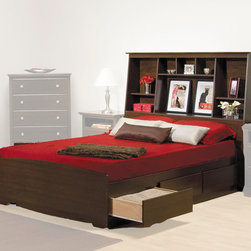 "Prepac Furniture - Prepac Fremont Platform Storage Bed with Bookcase Headboard in Espresso - TFremont Platform Storage Bed with Bookcase Headboard in Espresso - Prepac Furniture is mof composite woods with overlay laminate and the top has detailed, profiled MDF edges.Designed to fit either a double or queen bed, 11"" deep bookcase style headboard has three compartments which provide ample space for bedside reading material, clocks, and all your other accessories. The central compartment of this modern classic furniture also has an adjustable shelf.    This price is for Double Size Bed with Headboard.  Queen size bed is also available."