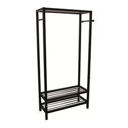 None - Black Hanger and Shoe Rack Stand - Color: BlackMaterials: Wood and steelDimensions: 33.5 inches long x 12.75 inches wide x 65.25 inches high