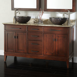 """60"""" Tobacco Madison Double Vanity with Vessel Sinks - Give your bathroom more room for style with the Madison Double Vanity. Set in a refined Tobacco finish, this vanity offers generous storage."""