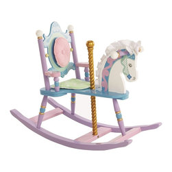 "Levels of Discovery - Kiddie-Ups Carousel Rocking Horse - Removable padded backrest and seat cushion Silky satin mane & ears Gilded carousel poleRemovable padded backrest. Satin mane and ears. Gilded carousel pole. Understamp beneath the seat for personalization. All seats have a ""personalizable"" understamp"