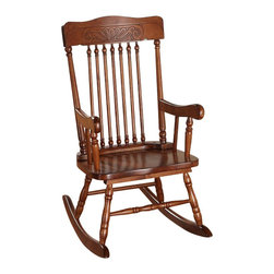 """Acme - Kloris Collection Spindled Back Tobacco Finish Children's Rocker Chair - Kloris collection pressed back spindled back tobacco finish wood Children's size rocking chair. Measures 24"""" x 18"""" x 30""""H. Some assembly required."""