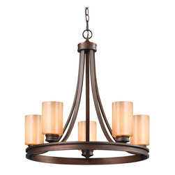 Golden Lighting - Hidalgo 5 Light Chandelier - Classic contour rounded out with modern flair, this chandelier lends just the right amount of drama. You get romantic elegance that's completely chic, without overdoing it.