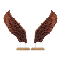 Brilliant Imports - Decor Wings, Coffee, Large - Wings that even the birds will envy, hand-carved out of hardy suar wood. A signature piece designed and made exclusively for Brilliant Imports. This pair of larger wings is coffee-colored on a bronze-painted wooden museum base.  Sold as a pair.