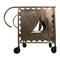 Pre-owned Mid-Century Modern Nautically Themed Bar Cart - This post war, mid-century modern nautically themed bar cart is rendered in aluminum. The cart features plenty of storage with a built in bottle holder and two-tier shelving. Nautical cut outs appear on the side panels including sailboats and an anchor. The panels are tied to the frame with cording that resembles that which attaches sails to a mast. The cart rests on four rubber casters. This wonder may be used indoors or out.    There are two additional carts available. Please contact support@chairish.com if you're interested in purchasing multiples.