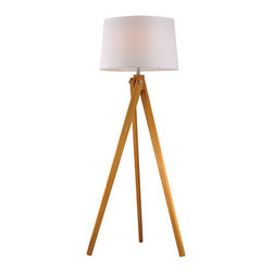 Dimond Lighting - Dimond Lighting Wooden Tripod Floor Lamp, Pure White Shade - Features:
