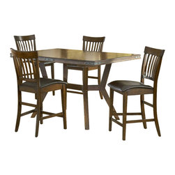 Hillsdale Furniture - Arbor Hill 5 Pc Counter Height Dining Set - Set includes 1 Table and 4 Stools. Composed of solid wood. Colonial Chestnut color. Table: 60 in. L x 40 in. W x 30 in. H. Leaf: 78 in. L x 40 in. W. Stools: 23 in. W x 19.25 in. D x 42 in. HCharm your guests with Hillsdale Furniture's Arbor Hill dining collection. Too modern to be country, but to rustic to be contemporary, with a classic mission styled chair and an unusual symmetrically sculpted table base, the Arbor Hill is a perfect blend of cozy and chic. Featuring a rich colonial chestnut finish, oil rubbed bronze decorative accents, versatile and comfortable brown leather waterfall seats and a butterfly leaf extension table, this ensemble will become the dining and entertainment center in your home.
