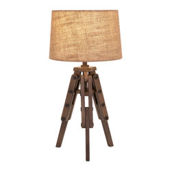 iMax - Concord Table Lamp - Make a stand for hip design with a wood table lamp on a tripod with a natural fabric barrel shade.
