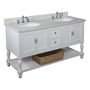 Kitchen Bath Collection - Beverly 60-in Double Sink Bath Vanity (White/White) - This bathroom vanity set by Kitchen Bath Collection includes a white cabinet, soft close drawers, self-closing door hinges, white marble countertop, double undermount ceramic sinks, pop-up drains, and P-traps. Order now and we will include the pictured three-hole faucets and a matching backsplash as a free gift! All vanities come fully assembled by the manufacturer, with countertop & sink pre-installed.