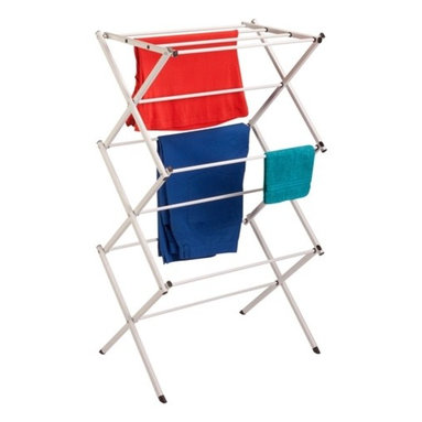 """Compact Folding Drying Rack - Honey-Can-Do DRY-02345 Compact Folding Drying Rack.  Drying clothes and linens has never been easier.  This drying rack easily folds down to 3"""" wide and can be stored just about anywhere.  Its sturdy steel construction, and superior strength and stability allow it to hold damp clothes and linens with ease.  This drying rack is eco-friendly and has over 20 feet of drying space for cost-efficient drying.  No assembly required."""