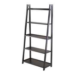 "Winsome Wood - Winsome Wood Adam 5-Tier A-Frame Shelf with Black Finish X-31502 - Adam 5-Tier A Frame Ladder Shelf is attractive and free standing.  Use as a bookshelf or display shelf.  5 different shelves various shelf size. Overall shelf size is 27.87""W x 12.99""D x 58.03""H.  Combine with Adam Desk and Corner shelf to create a complete look.  All five shelves are 26.30""W.  1st Top Shelf depth is 4.19""D, 2nd Top 6.06""D, Middle 7.91""D, 4th Shelf 9.78""D and 5th Bottom Shelf 11.65"".  There is 12"" Clearance between each shelf.  Made with combination of Solid and composite wood in Black Finish.  Assembly Required"