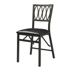 Linon - Arista Ovals Folding Chair - Set of 2. Sturdy, solid metal frame. Some Assembly Required. Weight Limit: 400 lbs. Powder coated. 17.91 in. W x 19.69 in. D x 33.27 in. H (31.08 lbs)Add extra seating to any table with the Arista Ovals Metal Folding Chair. Crafted from a sturdy metal frame, the chair has a weight limit of 300 pounds. The powder coated dark brown metal finish will complement any decor. Featuring a decorative oval back, the chair has a plush vinyl upholstered seat. When not in use, the chair easily folds for simple storage.