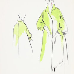 1950s Green Fashion Drawing by Gibson Bayh - Add a touch of '50s Hollywood glamour to your home! Designer Gibson Bayh (1917-2007) was renowned for his easy elegance — this gorgeous green swing coat is a testament to his talent and your fine taste.